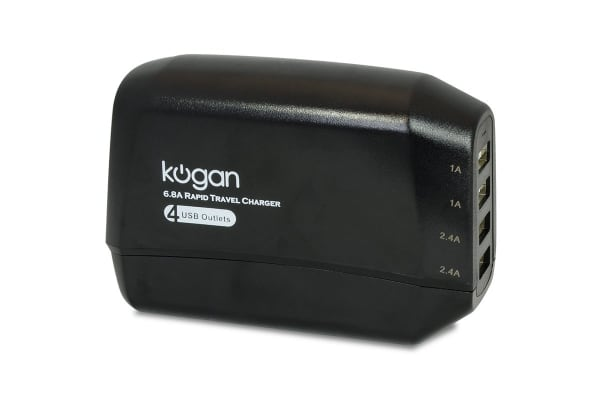 Kogan 6.8A 4-Port USB Rapid Travel Charger