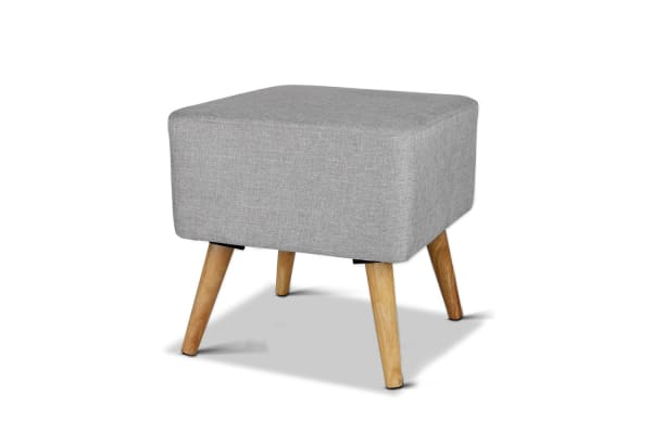 Linen Square Foot Stool (Grey)