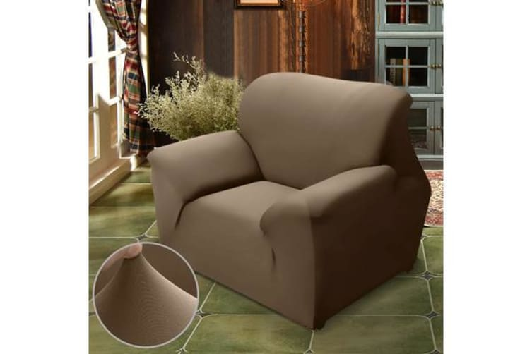 Easy Fit Stretch 1 Seater Couch Sofa Slipcover Protector Cover TAUPE