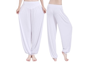 Womens Modal Cotton Soft Yoga Sports Dance Harem Pants White Xl