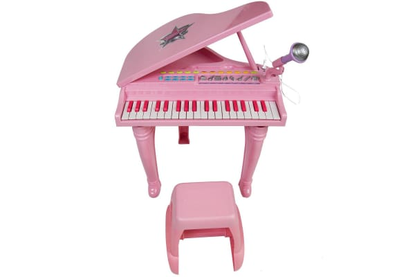 Kids Electric Grand Piano Set with Microphone - Pink