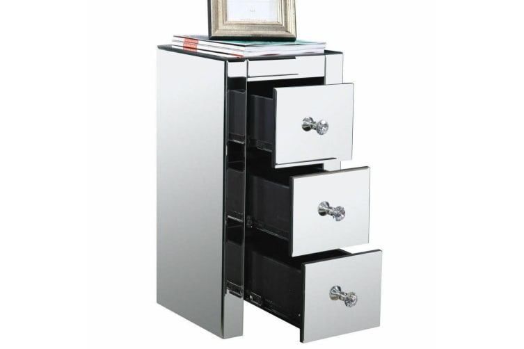 Levede Bedside Tables Nightstands 3 Drawers Side Table Mirrored Storage Cabinet