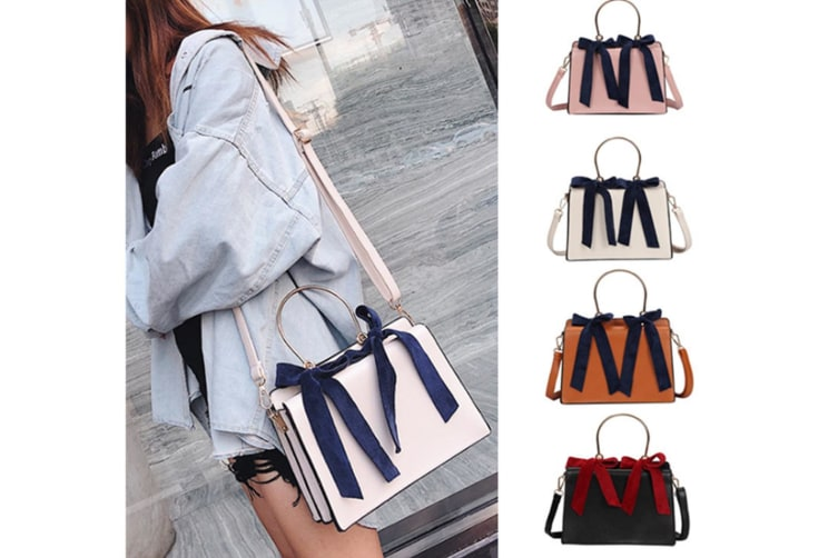Ladies'Fashionable Handbag With Bow Knot And Circular Leisure Inclined Bag Brown