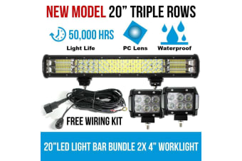 """Elinz 20"""" LED Light Bar Philips 3 Rows bundle 2x 18W 4 inch CREE Worklight Driving"""