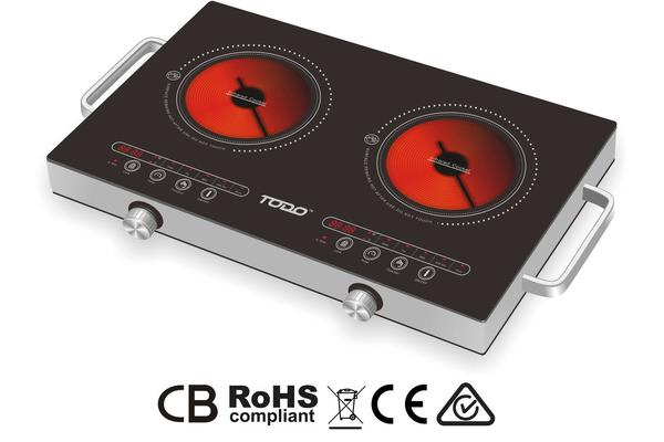 2400W Twin Hot Plate Infrared Cooker Ceramic Glass Cooktop Touch Control Led