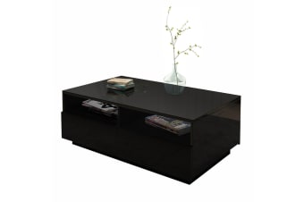 New Modern Coffee Table 4 Drawer Storage Shelf High Gloss Furniture Wood Black