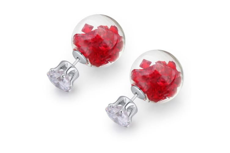 Stardust Bubble Earrings Red-White Gold/Red