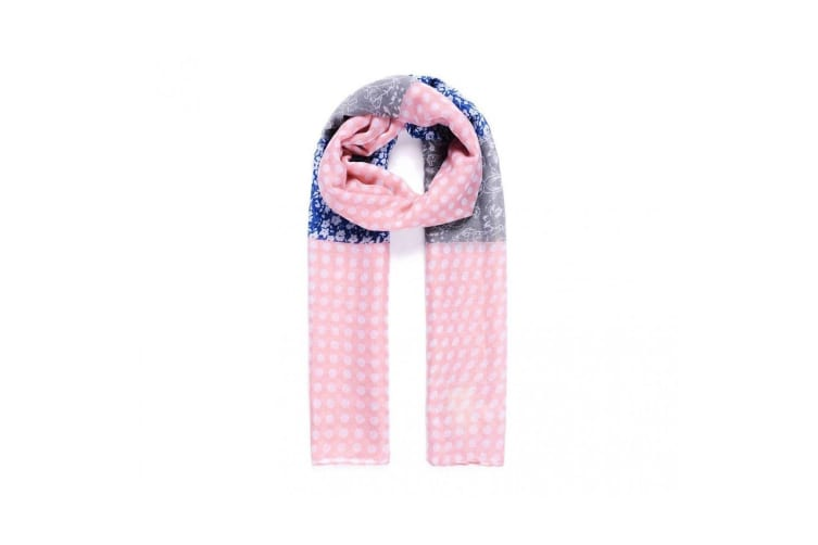Intrigue Womens/Ladies Polka-Dot And Floral Print Scarf (Pink/Blue) (One Size)