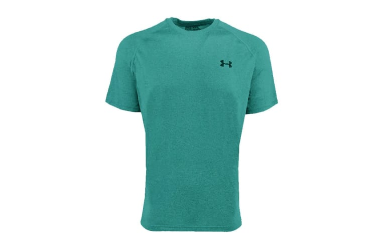 Under Armour Men's UA Tech Heathered T-Shirt (Seafoam/Black, Size S)