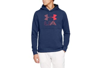 Under Armour Men's Threadborne Fleece Graphic Hoodie (True Ink/Red)