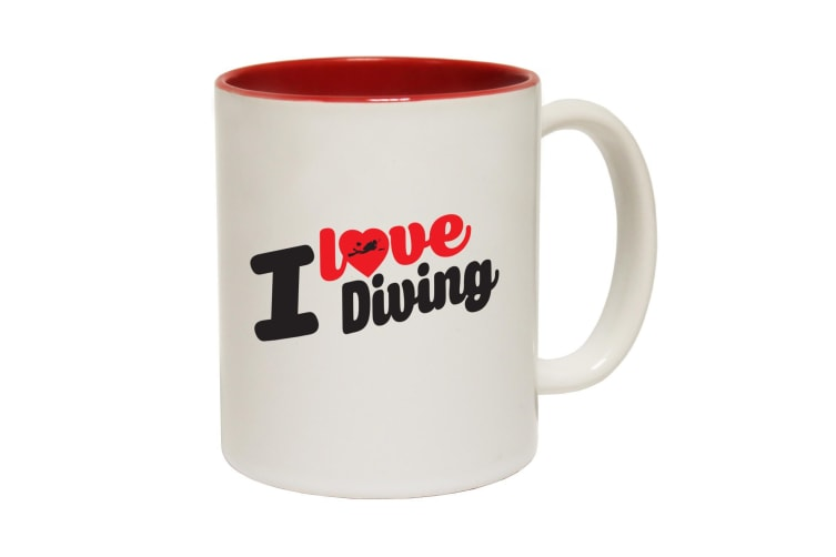 123T Funny Mugs - I Love Diving - Red Coffee Cup