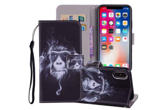 For iPhone XS MAX Cover Leather Folio Wallet Card Slots Phone Case Chimpanzee