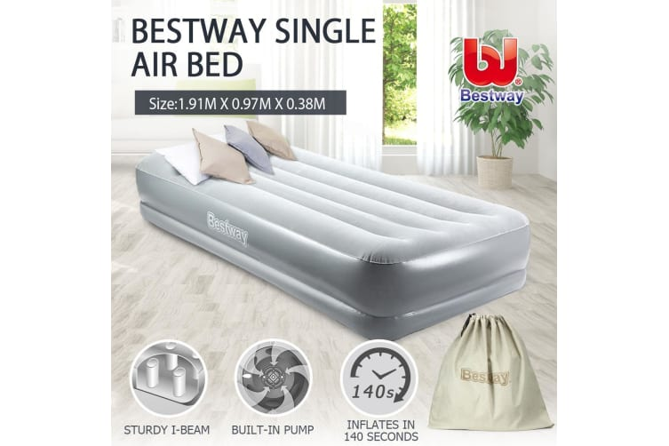 Bestway Raised Airbed with Built-in AC Pump-Single Size