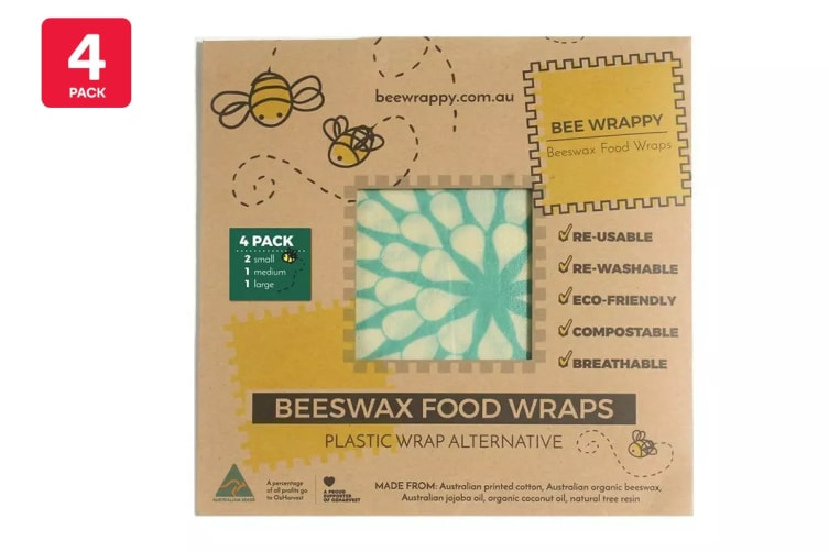 4 Pack Bee Wrappy Beeswax Wraps Kitchen Pack with 2 x Small, 1 x Medium & 1 x Large