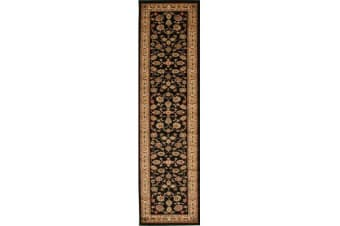 Traditional Floral Pattern Runner Black 300x80cm