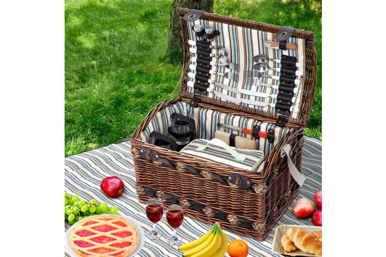 4 Person Wicker Picnic Basket Baskets Outdoor Insulated Gift Blanket