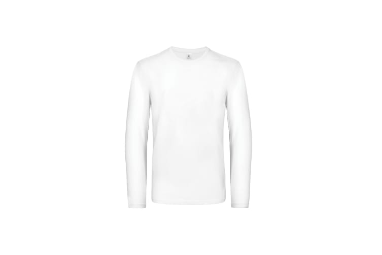 B&C Mens #E190 Long Sleeve T-Shirt (White) (XXXXL)