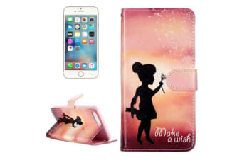 For iPhone 8 PLUS 7 PLUS Wallet Case Stylish Wishing Girl Protective Cover