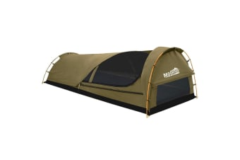 MOUNTVIEW Double Swag Camping Swags Canvas Tent Deluxe Kings Poles Daddy Bag NEW  -  King singleKing single
