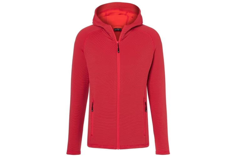 James and Nicholson Mens Stretch Fleece Jacket (Red/Carbon) (XL)