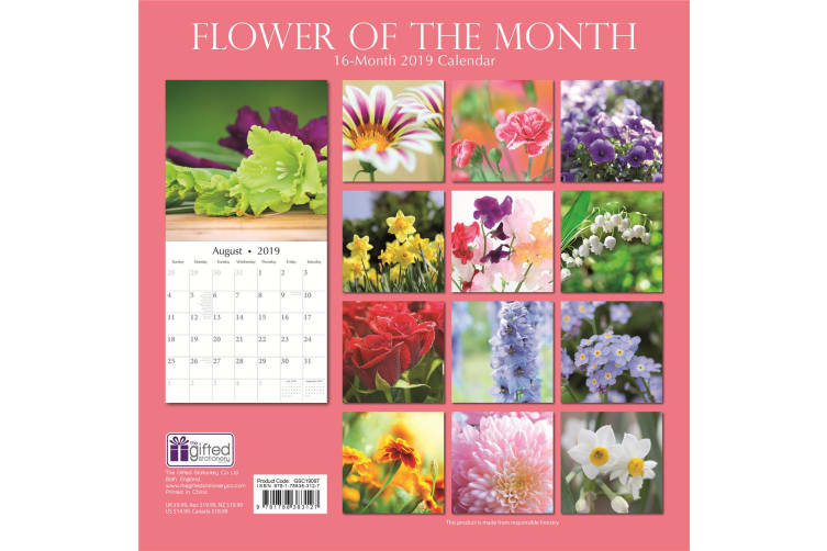 Flower of the Month - 2019 Premium Square Wall Calendar 16 Months New Year Gift