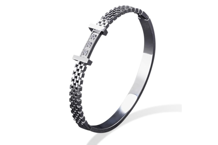 Claire Bangle-White Gold/Clear