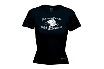 Drowning Worms Fishing Tee - You Can Call Me The Fish Whisperer - Black Womens T Shirt