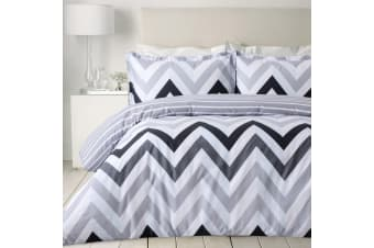 Dreamaker printed Chevron Quilt Cover Set Single Bed