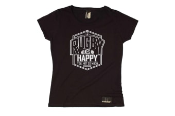 Up And Under Rugby Tee - Makes Me Happy You Not So Much - (Large Black Womens T Shirt)
