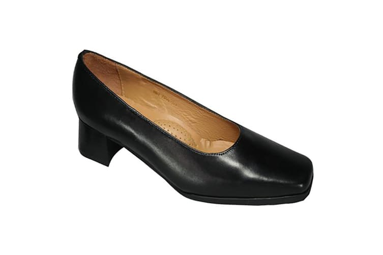 Amblers Walford Ladies Leather Court / Womens Shoes (Black) (7.5 UK)