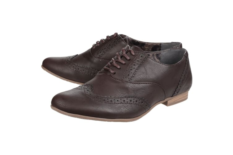 Divaz Womens/Ladies Levato Lace Up Perforated Brogues (Brown) (7 UK)
