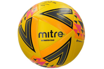 Mitre Ultimatch Plus Size 5 Stitched PVC 20 Panel Match Ball Soccer/Football YEL