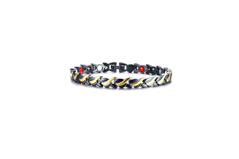 Women'S Fashion Twisted Healing Magnetic Bracelet - Black Gold