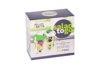 SALAD TO GO  2 SETS All in One salad and Dressing Container Cup Forks