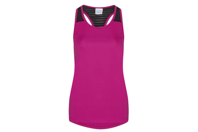 AWDis Just Cool Womens/Ladies Girlie Smooth Workout Sleeveless Vest (Hot Pink) (XL)