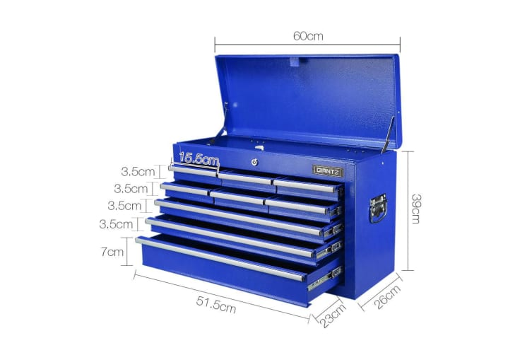 Giantz Tool Box Chest Cabinet 9 Drawers Garage Storage Toolbox Organiser Blue