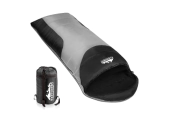 Camping Single Sleeping Bag -15 to 10 (Grey/Black)