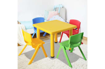 Keezi Kid Table and Chair Set Children Study Desk Furniture Plastic Yellow 5PC