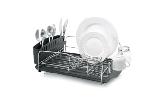 Polder Advantage 4 Piece Dish Rack - Sleek Design With Slide Out Drain Tray For Increased Drying Space