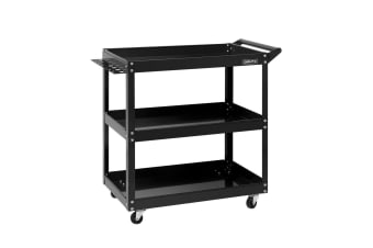 New Giantz Tool Cart 3-Tier Parts Steel Trolley Mechanic Storage Organizer Black