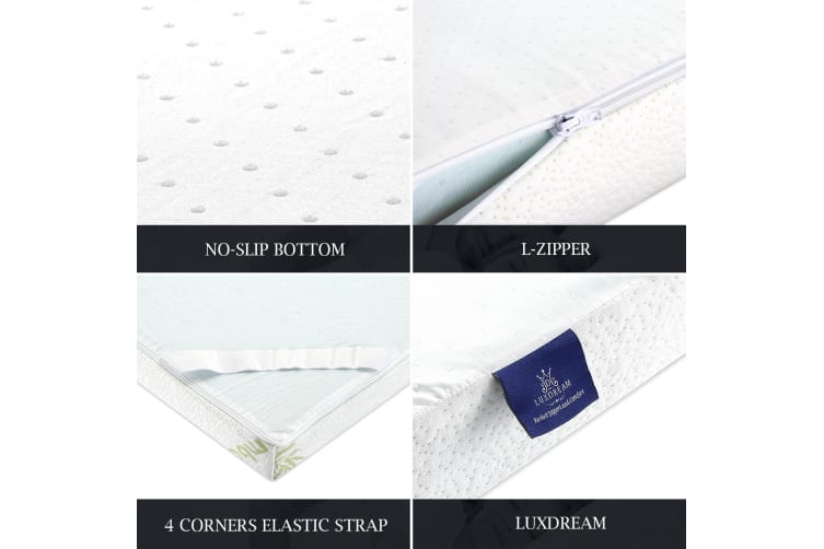 Cool Gel Infused Memory Foam Mattress Topper Bamboo Underlay Cover Bedding 10cm - King Size