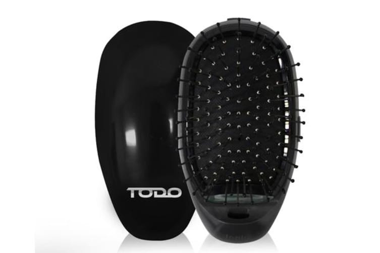 Ionic Styling Hair Brush Straightener Anti-Frizz Smooth Silky Hair Stainless Steel Bristle Black
