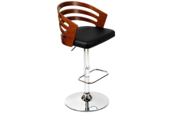 PU Leather Carved Back Wooden Kitchen Bar Stool (Black)