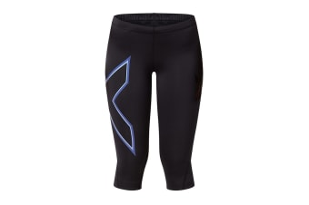2XU Women's 3/4 Compression Tights G1 (Black/Amethyst, Size XS)