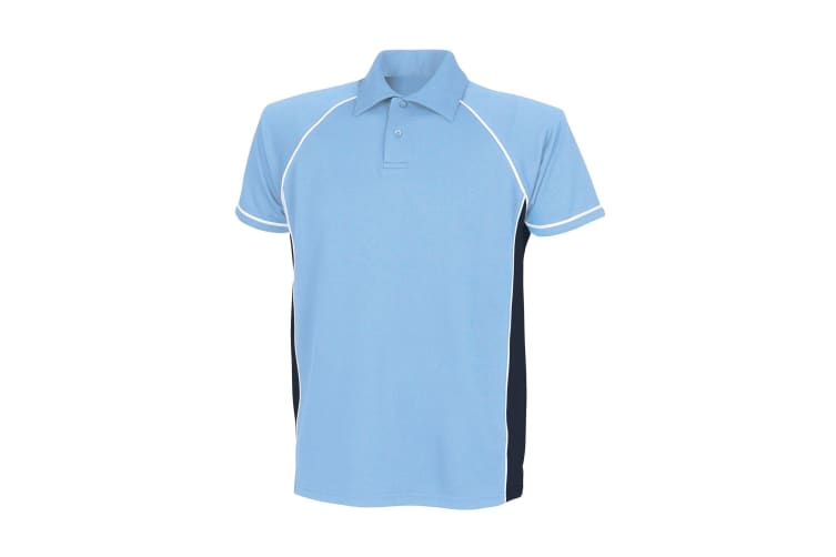 Finden & Hales Mens Piped Performance Sports Polo Shirt (Sky/Navy/White) (XL)