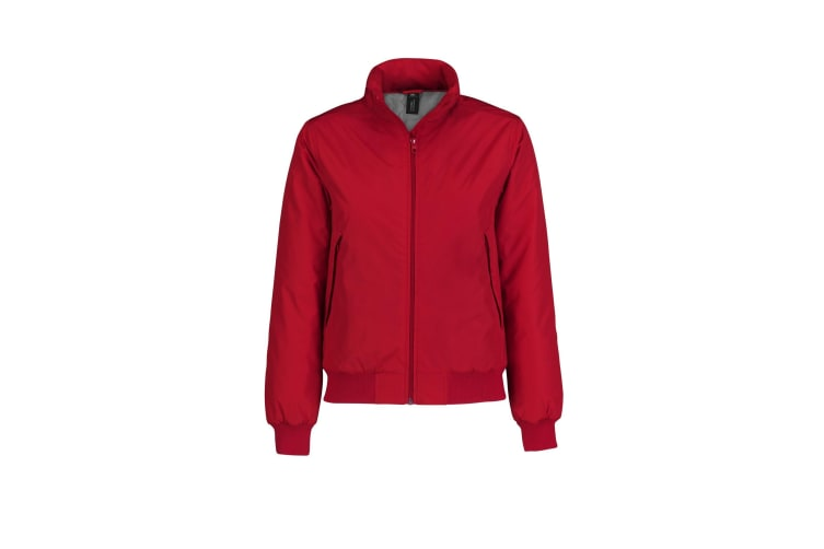 B&C Womens/Ladies Crew Padded Bomber Jacket (Red/ Warm Grey) (2XL)