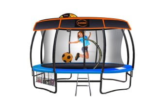 Kahuna Trampoline 14 ft with Basketball set and Roof - Blue