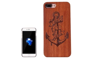 For iPhone 8 PLUS 7 PLUS Case Anchor Engraved Wood Durable Protective Cover