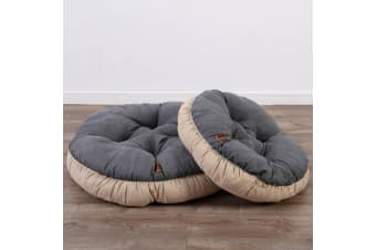 Pet Round Bed Cushion M - Dark Grey/ Cream
