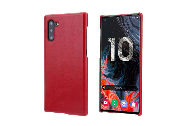 For Samsung Galaxy Note 10 Case Red Elegant Genuine Leather Back Cover